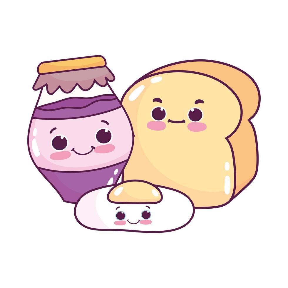 Comida linda huevo frito pan y tarro con mermelada postre dulce pastelería diseño aislado de dibujos animados vector