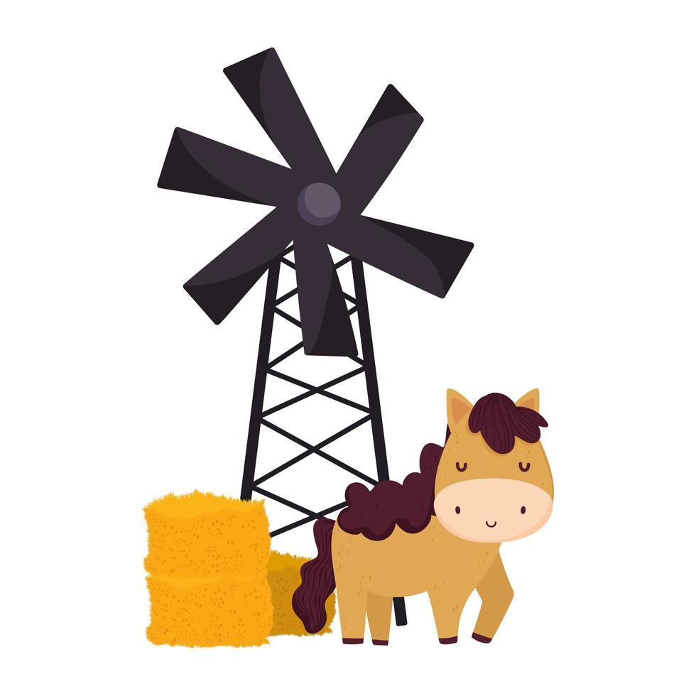 animales de granja caballo molino de viento heno dibujos animados vector