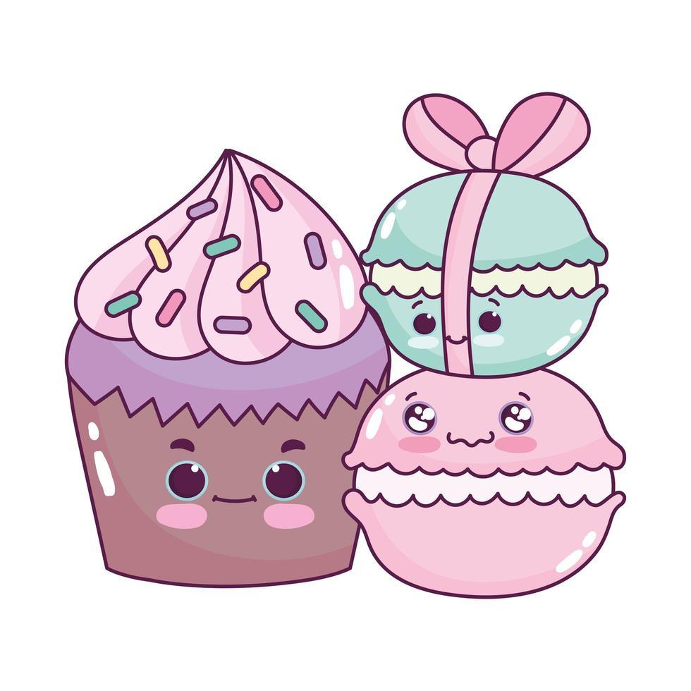 Cute food cupcake y macarrones postre dulce pastelería dibujos animados diseño aislado vector