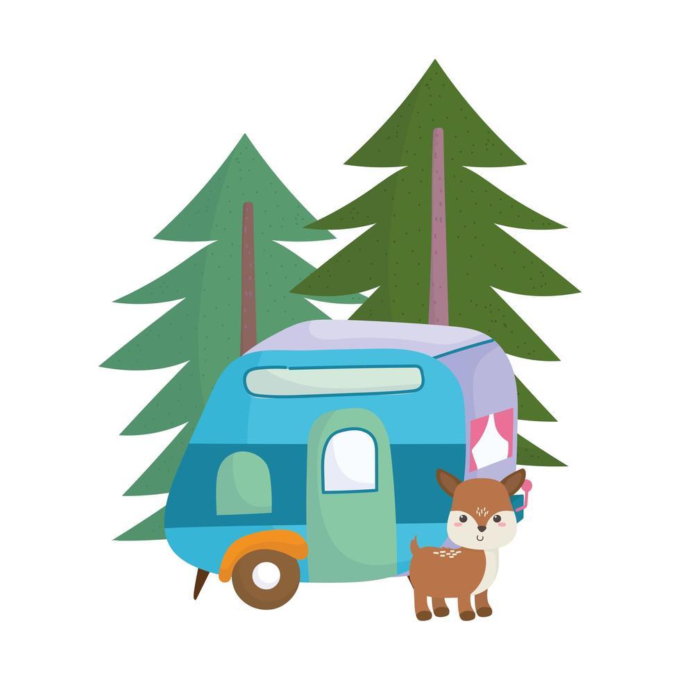 Camping lindo ciervo remolque árboles bosque dibujos animados diseño de icono aislado vector