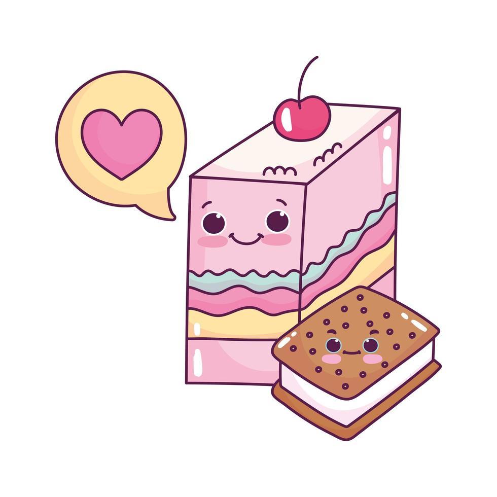 linda comida gelatina y helado galleta amor dulce postre pastelería dibujos animados diseño aislado vector