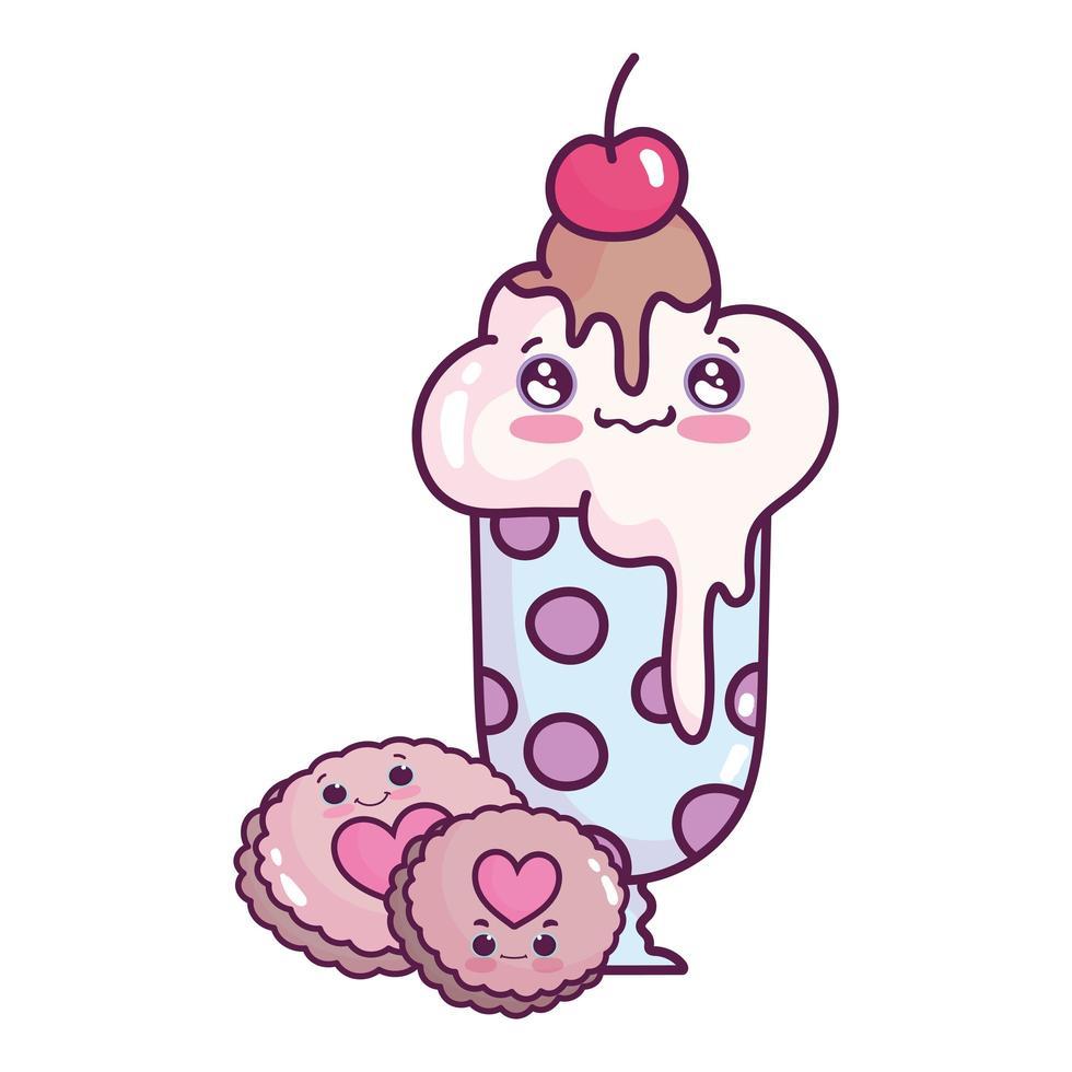 Lindo helado de comida en vidrio y galletas postre dulce pastelería diseño aislado de dibujos animados vector