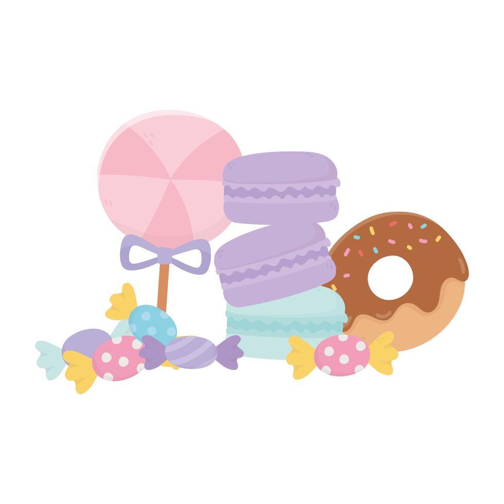 Dulces en palo caramelos rosquillas y macarrones dulce confitería icono aislado vector