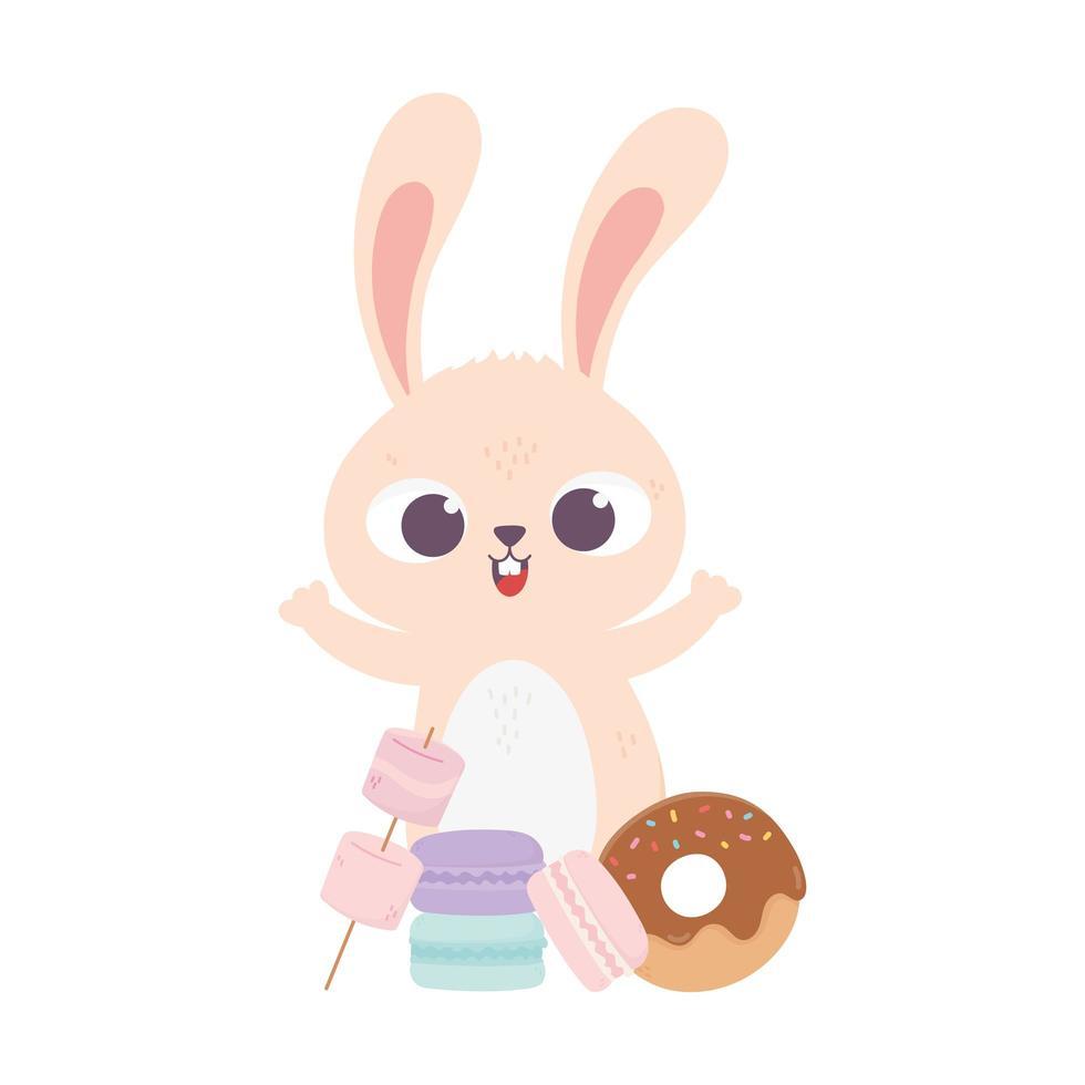 feliz día, lindo conejo con macarrones y donut vector
