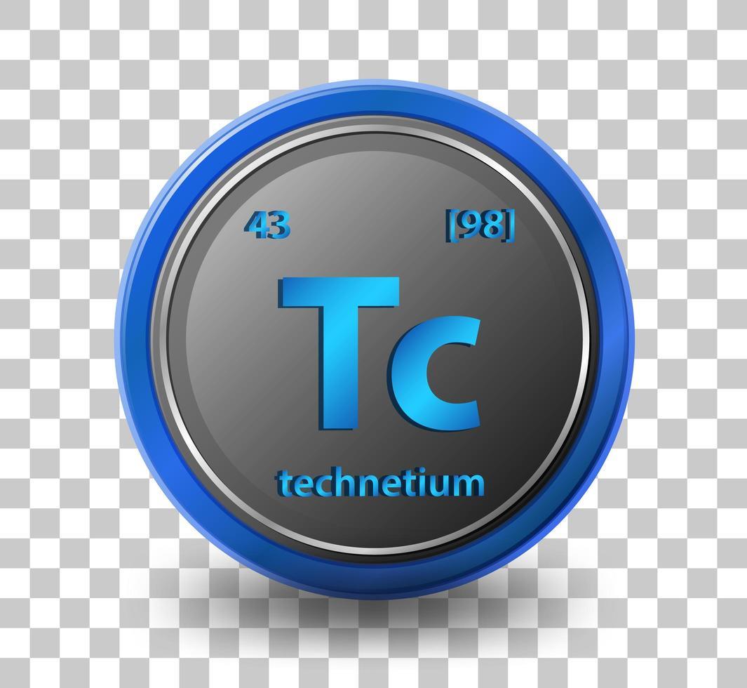 elemento químico tecnecio. símbolo químico con número atómico y masa atómica. vector