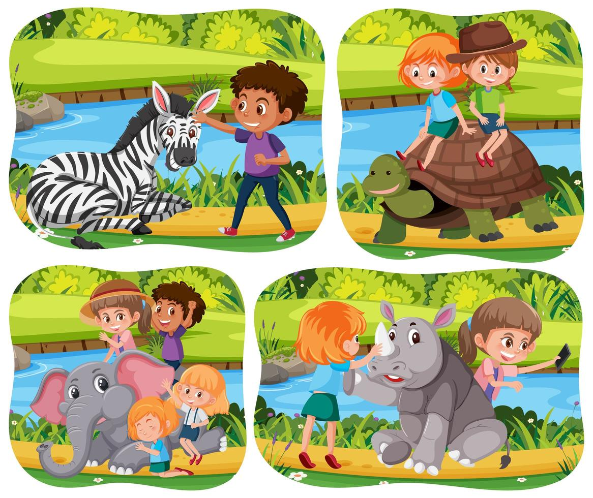niños felices con animales en el fondo de la naturaleza vector