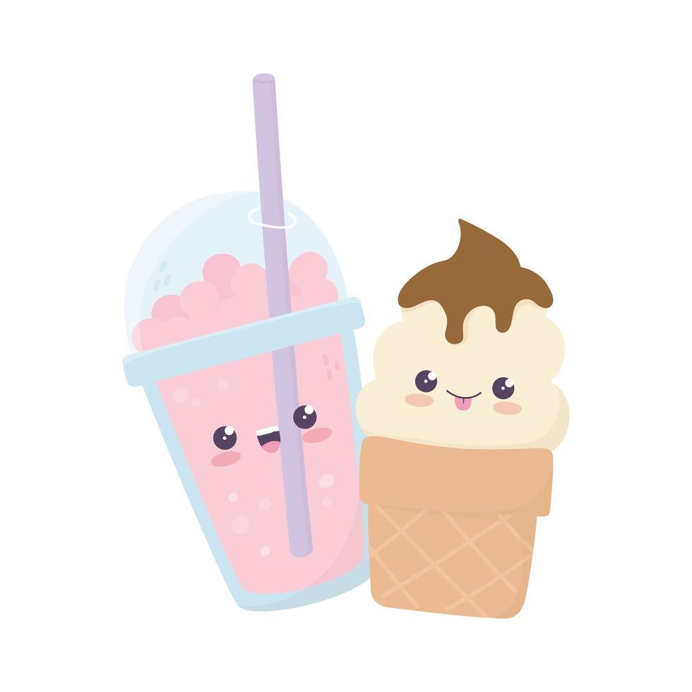 Lindo personaje de dibujos animados kawaii de helado y batido vector