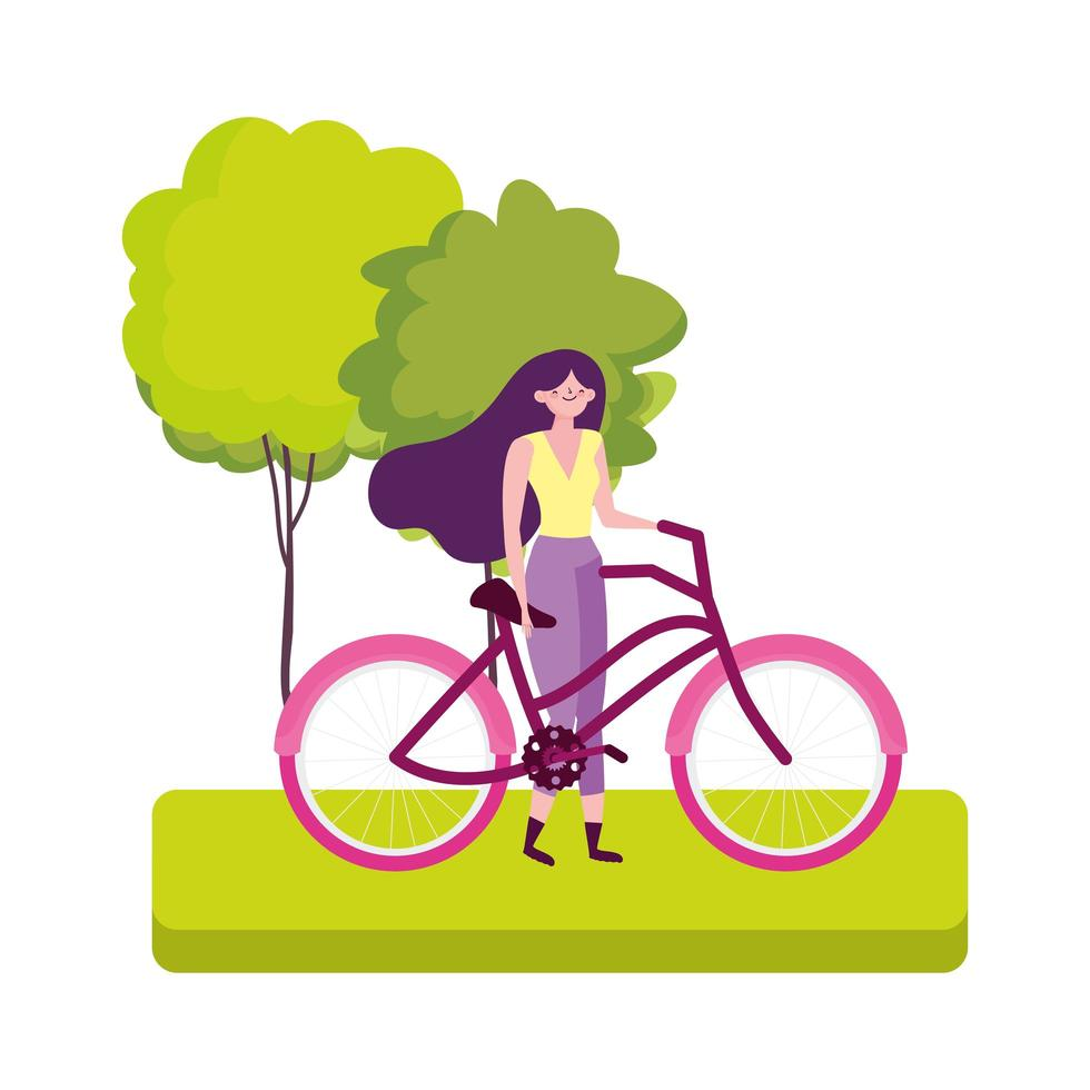 eco friendly transport, young woman with bicycle in the park cartoon vector