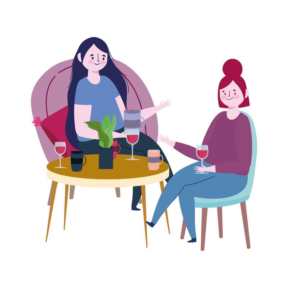 distanciamiento social restaurante o cafetería, mujeres hablando con vino de copa mantienen distancia, covid 19 coronavirus, nueva vida normal vector