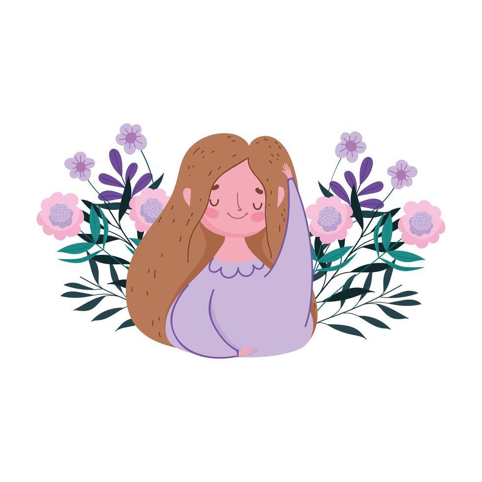feliz día de la madre, mujer flores deja decoración naturaleza diseño isolted vector