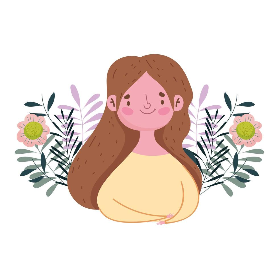 happy mothers day, woman flowers leaves decoration nature isolted design vector