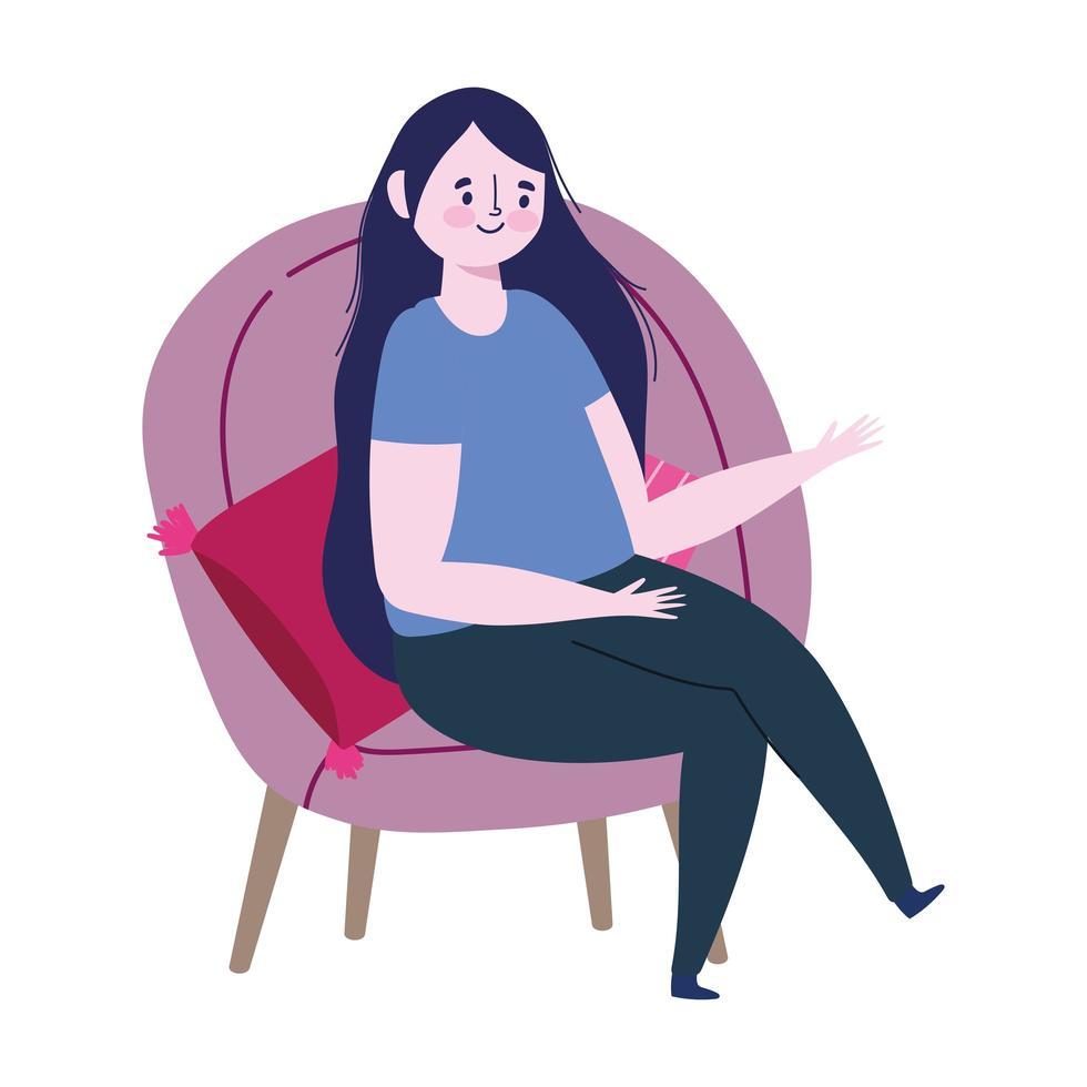 mujer joven, sentado, en, silla, caricatura, aislado, icono, diseño vector