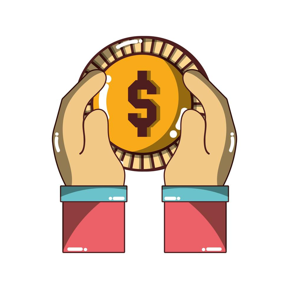 hand holding dollar coin money icon isolated design shadow vector