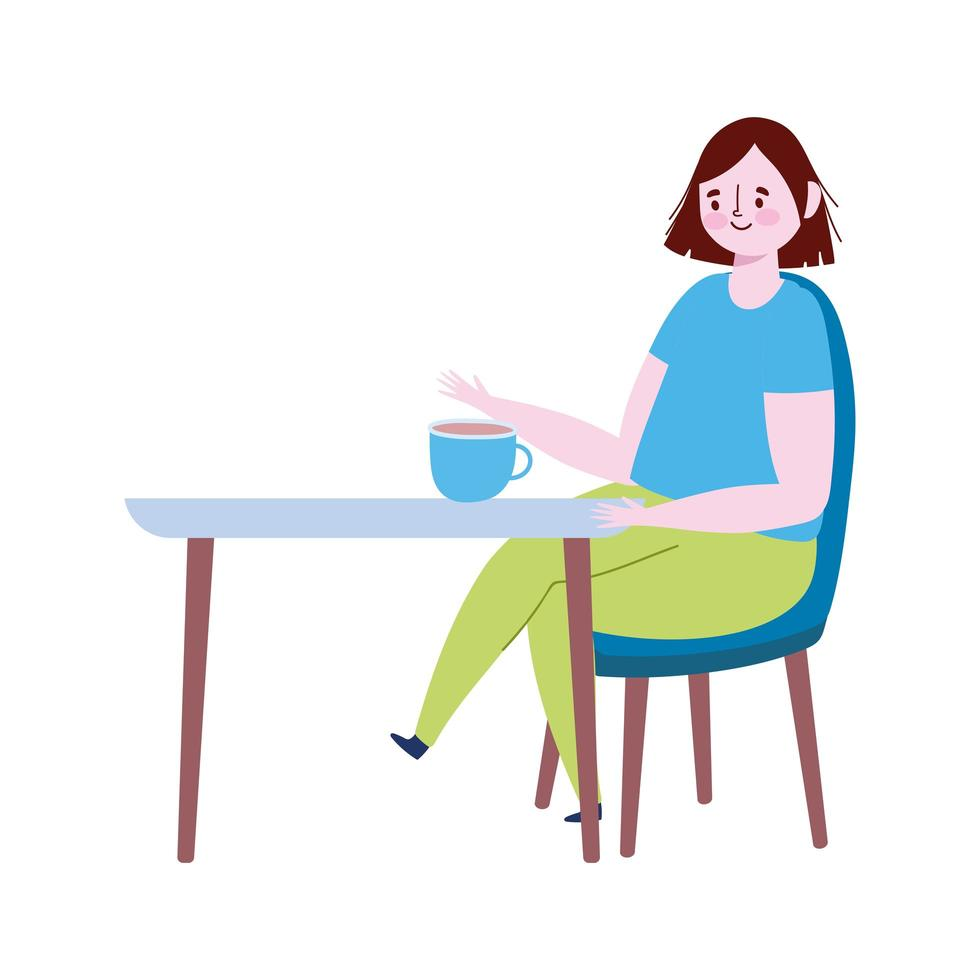 restaurant social distancing, woman with coffee cup alone prevent from disease outbreak, covid 19 vector