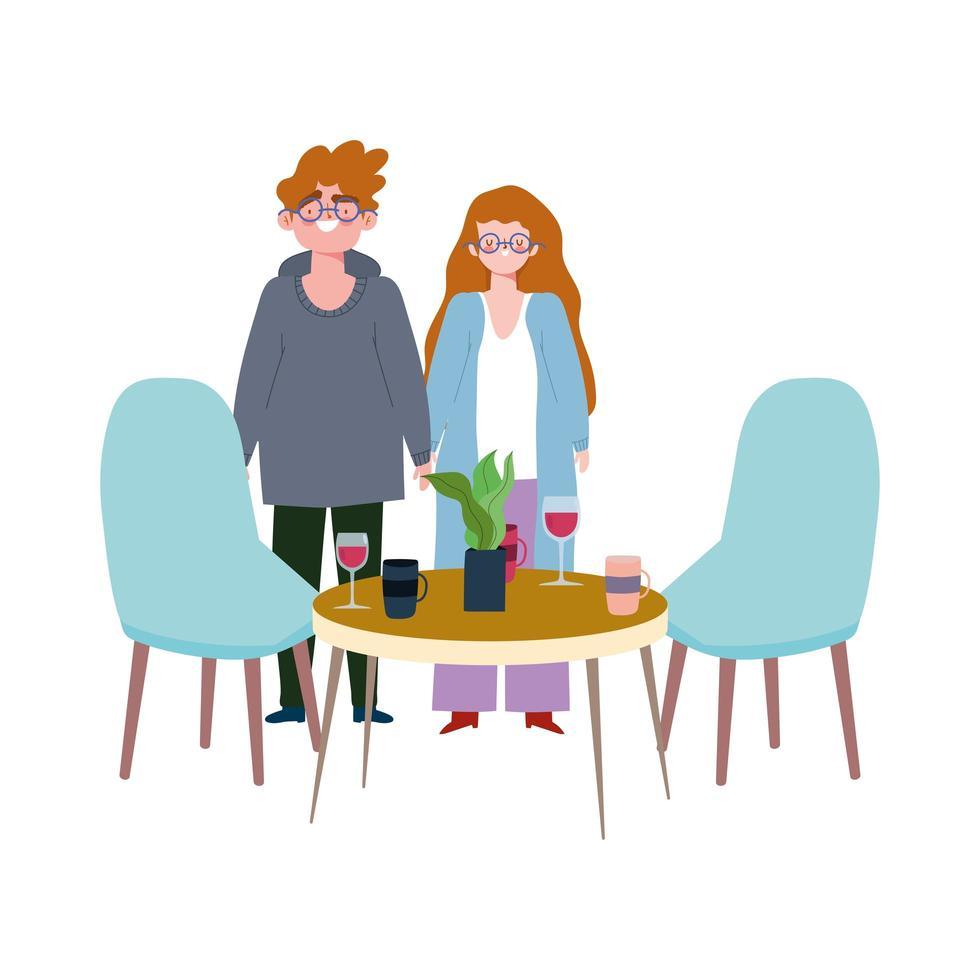 distanciamiento social restaurante o cafetería, hombre y mujer con copas de vino y tazas de café, covid 19 coronavirus, nueva vida normal vector