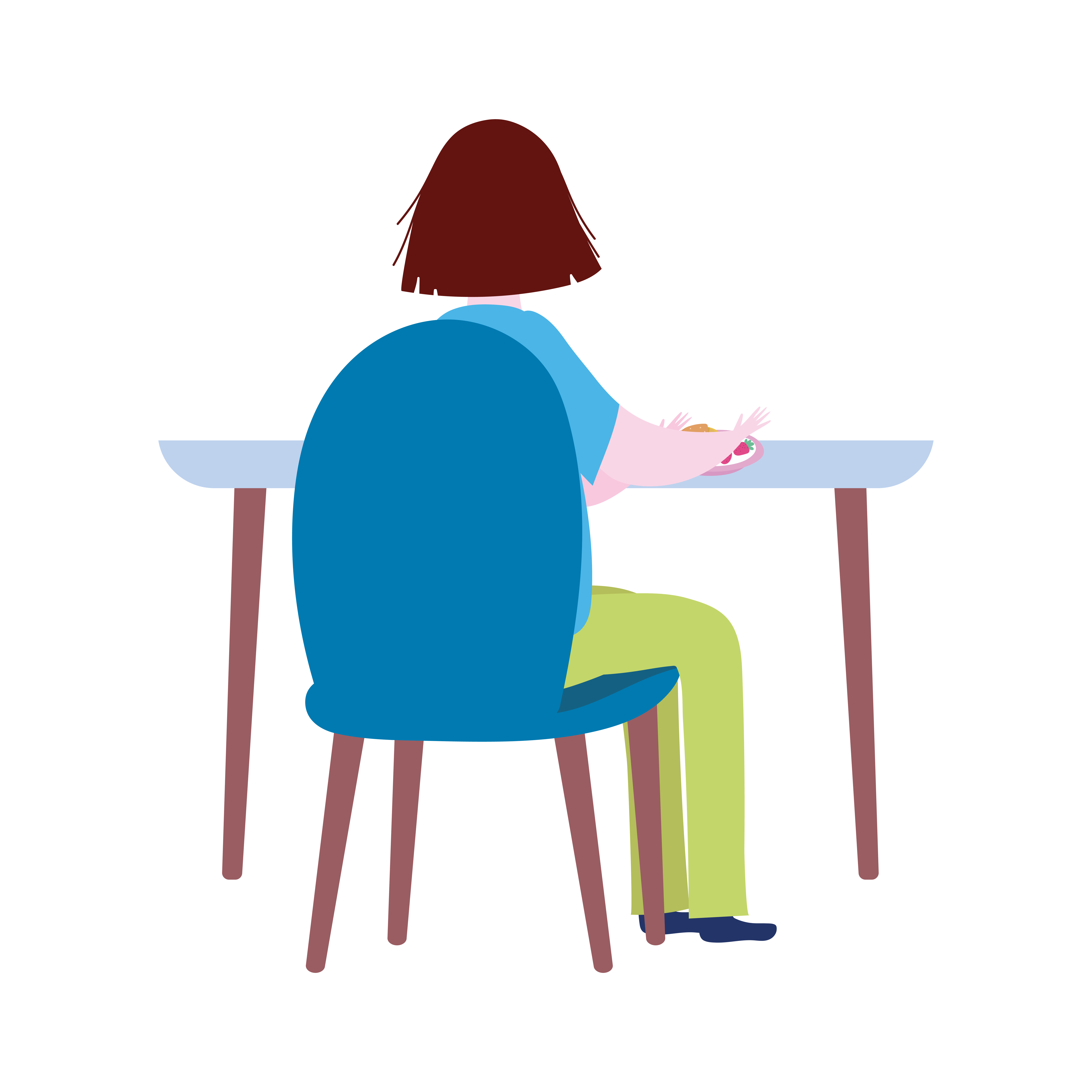 Woman Sitting On The Table Alone Cartoon Isolated Icon 1846832 Vector Art At Vecteezy