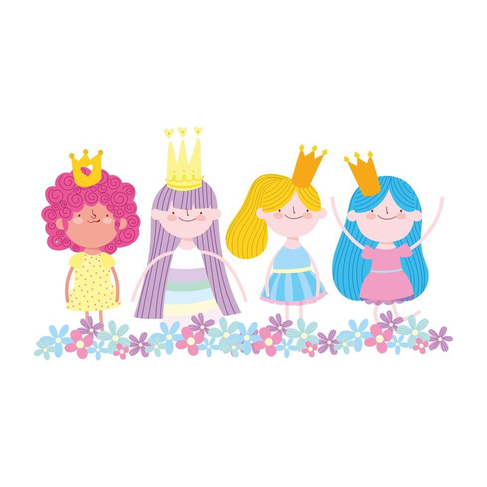 personaje de princesa de hadas pequeñas con dibujos animados de cuento de flores de corona vector