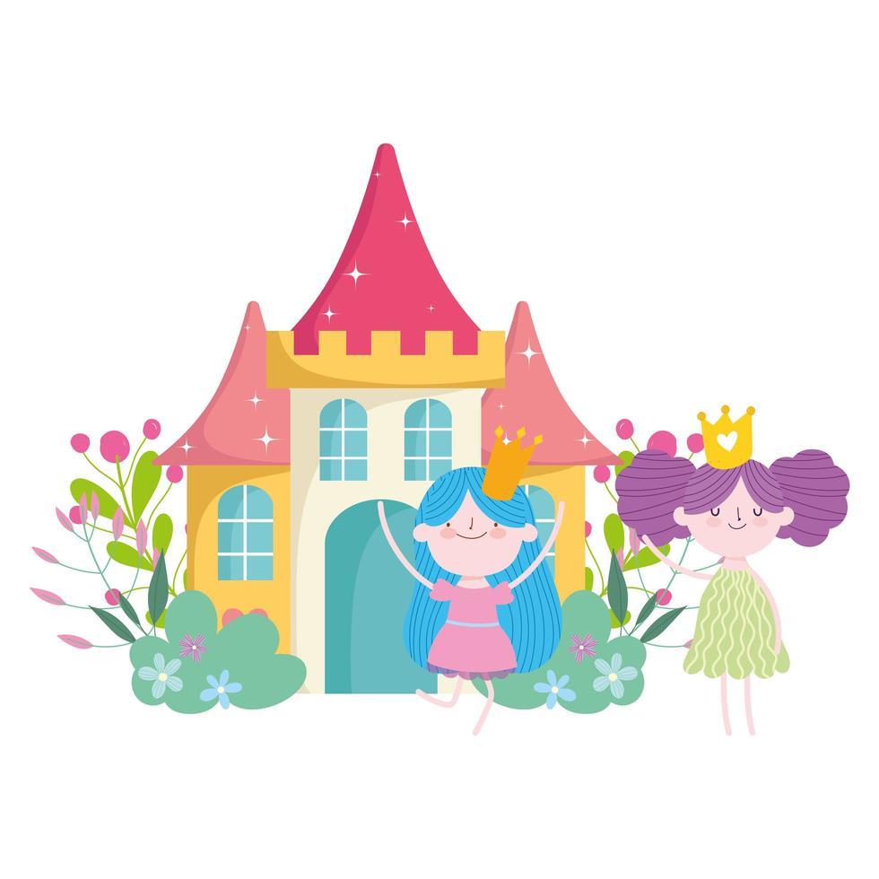 lindas pequeñas hadas princesa cuento dibujos animados castillo flores vector