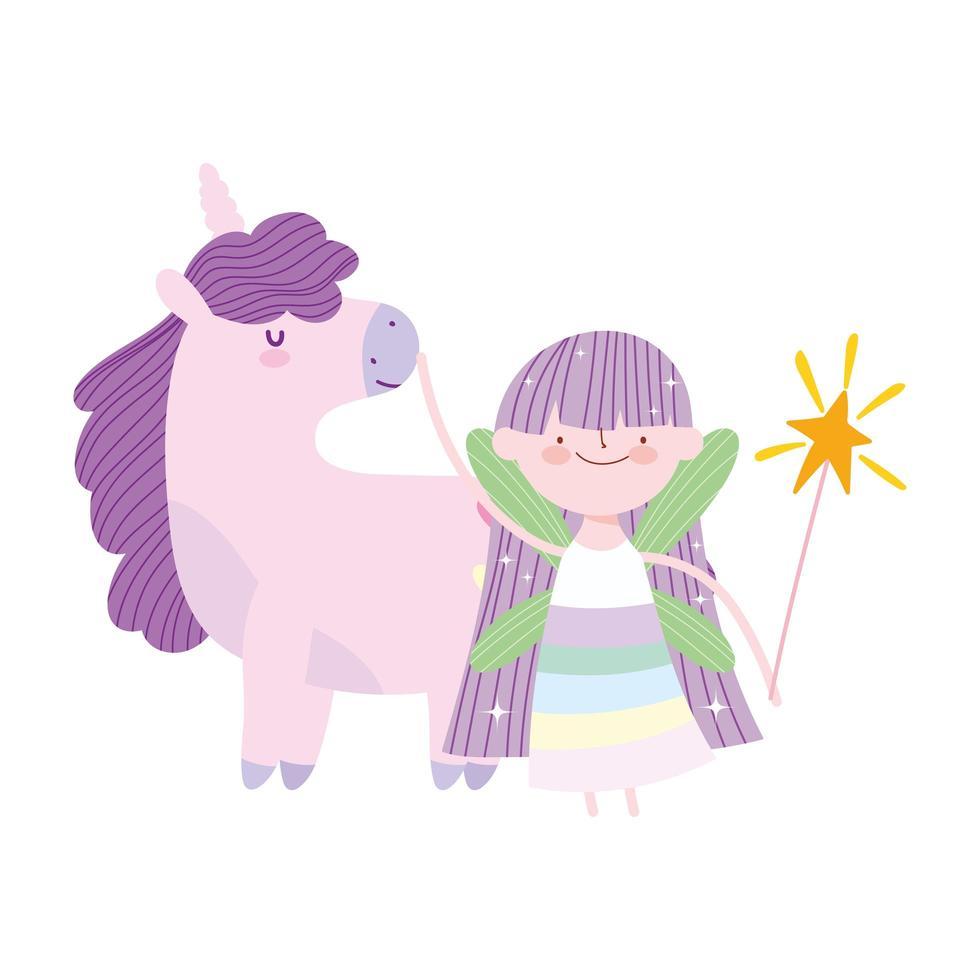 pequeña hada princesa unicornio magia cuento de fantasía dibujos animados vector