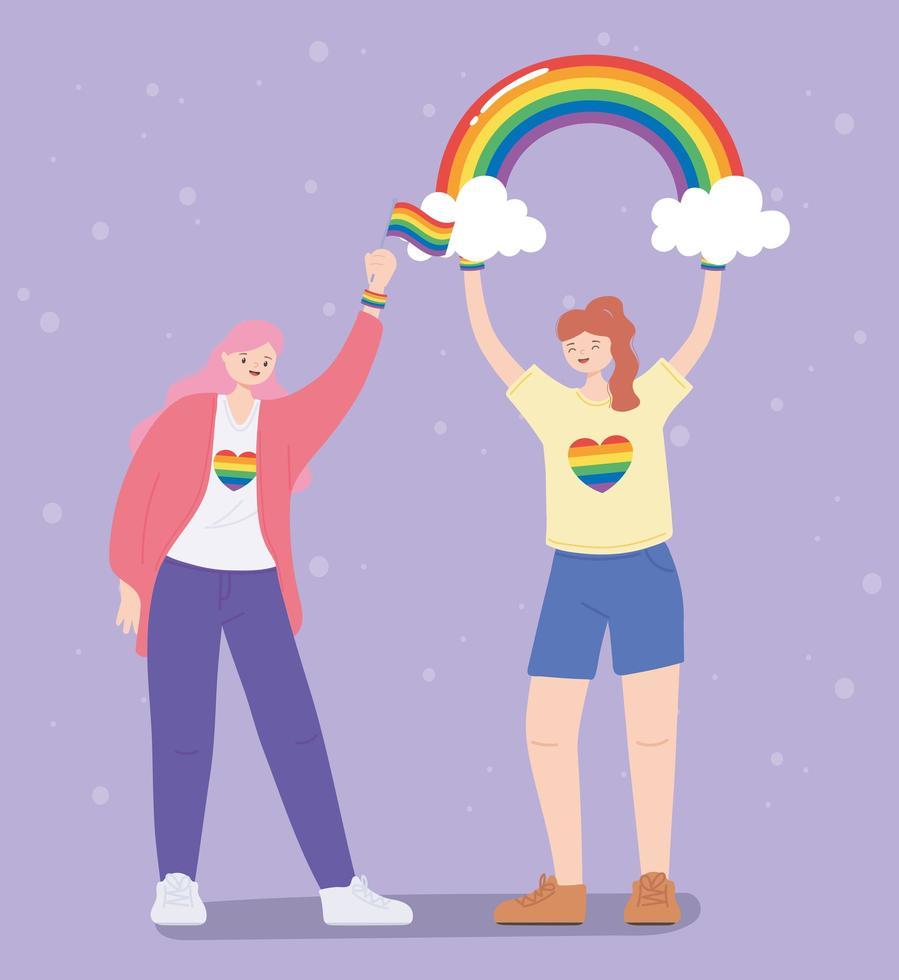 comunidad lgbtq, mujeres lesbianas con arco iris y bandera, desfile gay protesta por discriminación sexual vector