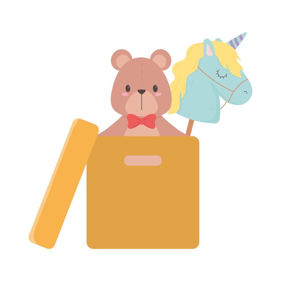 kids toys object amusing cartoon bear unicor in box and car dinosaur blocks vector
