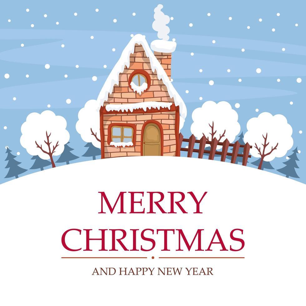 diseño de paisaje de nieve con casa para tarjeta de feliz navidad vector
