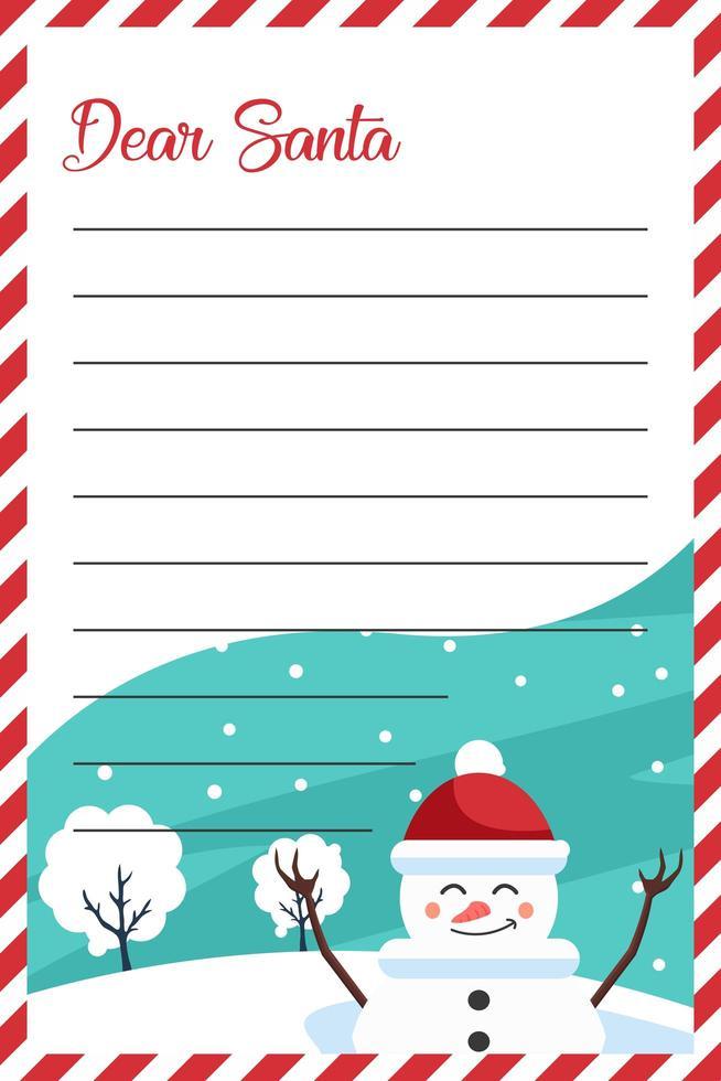 diseño de carta para santa claus con muñeco de nieve navideño vector