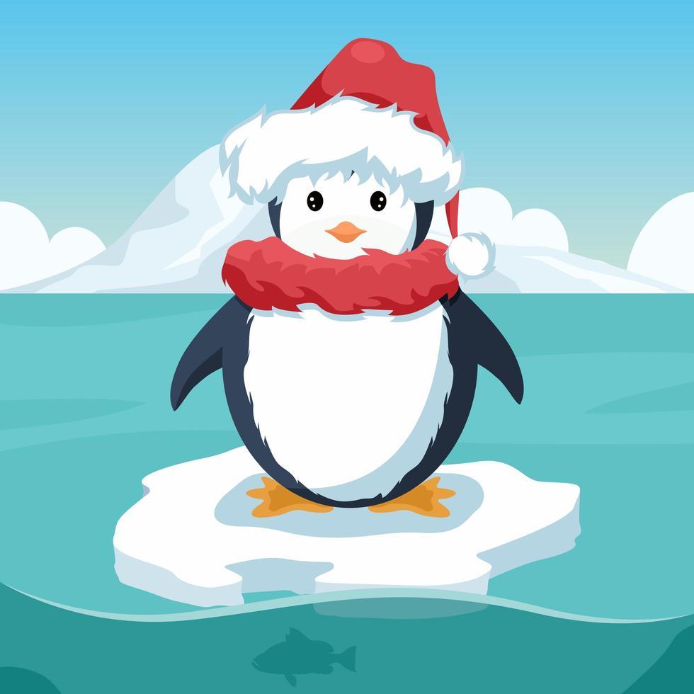 diseño de pingüino con gorro de santa claus en navidad vector