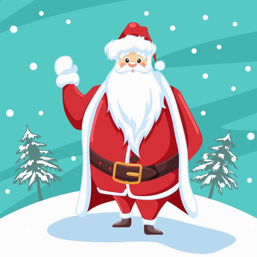 diseño de santa claus saludando para navidad con fondo de paisaje de nieve vector