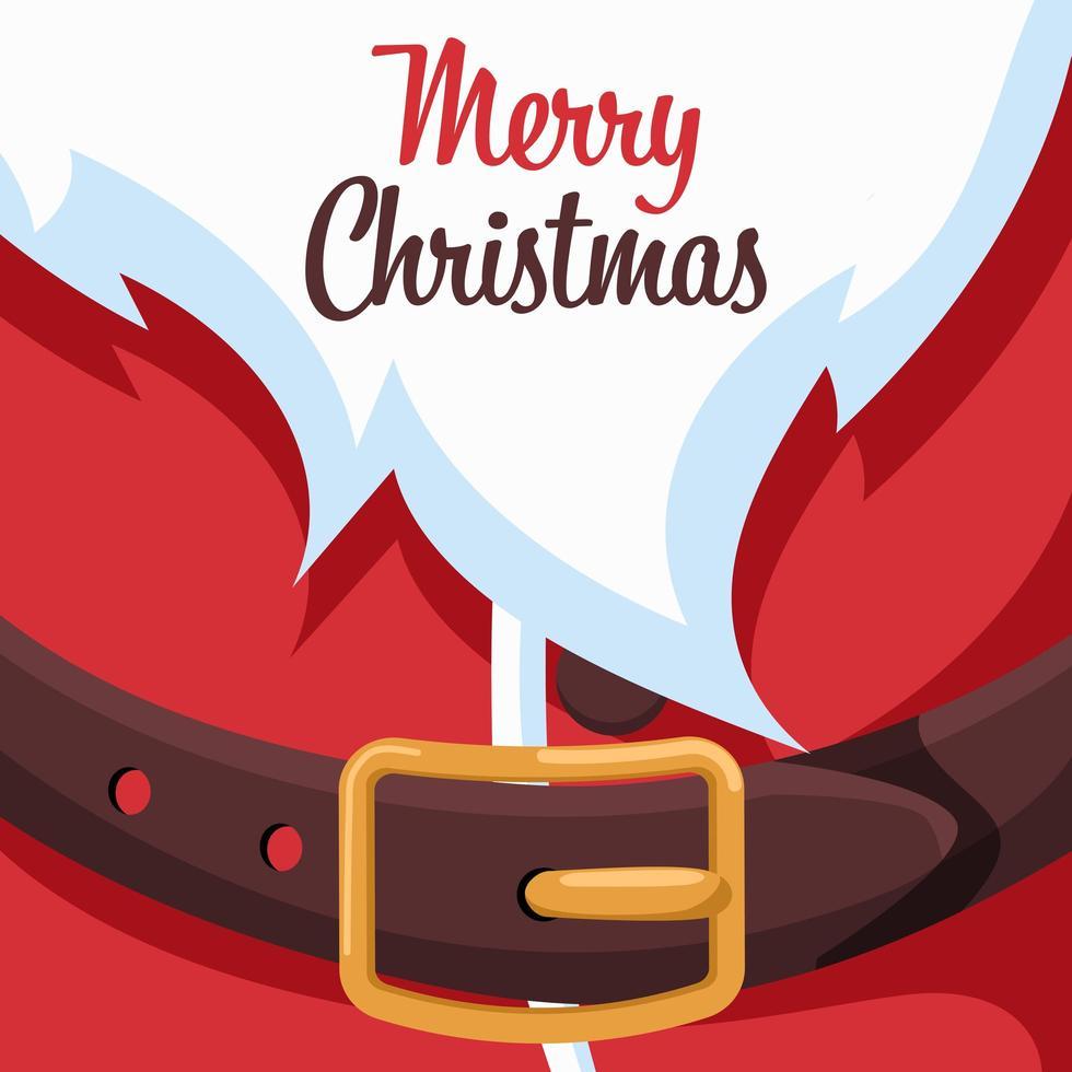 diseño de tarjeta de feliz navidad con correa de santa claus vector