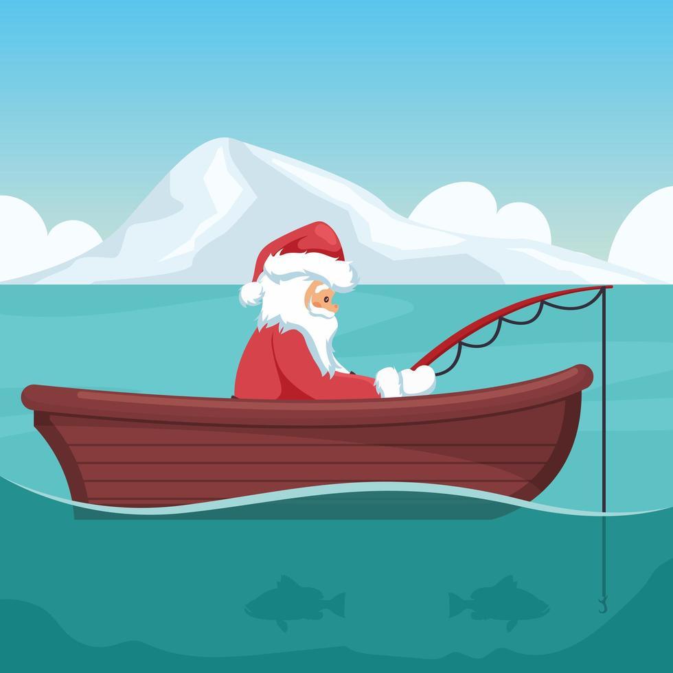 diseño de santa claus pescando en su barco en navidad vector