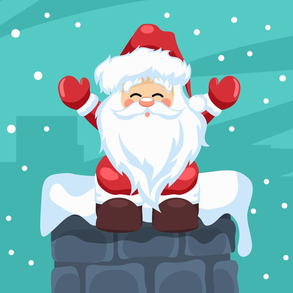 diseño de santa claus sentado en una chimenea en navidad vector