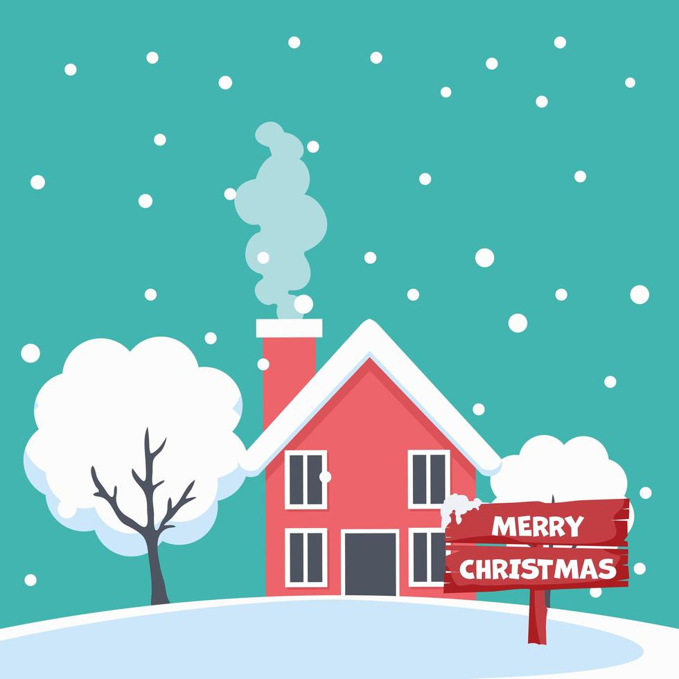 diseño de tarjeta de feliz navidad de casa en paisaje nevado vector