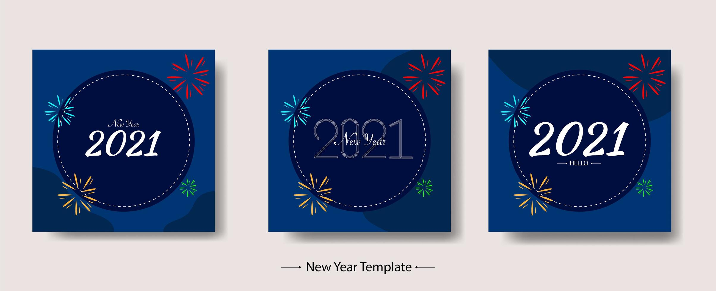 New Year 2021 Template Bundle vector