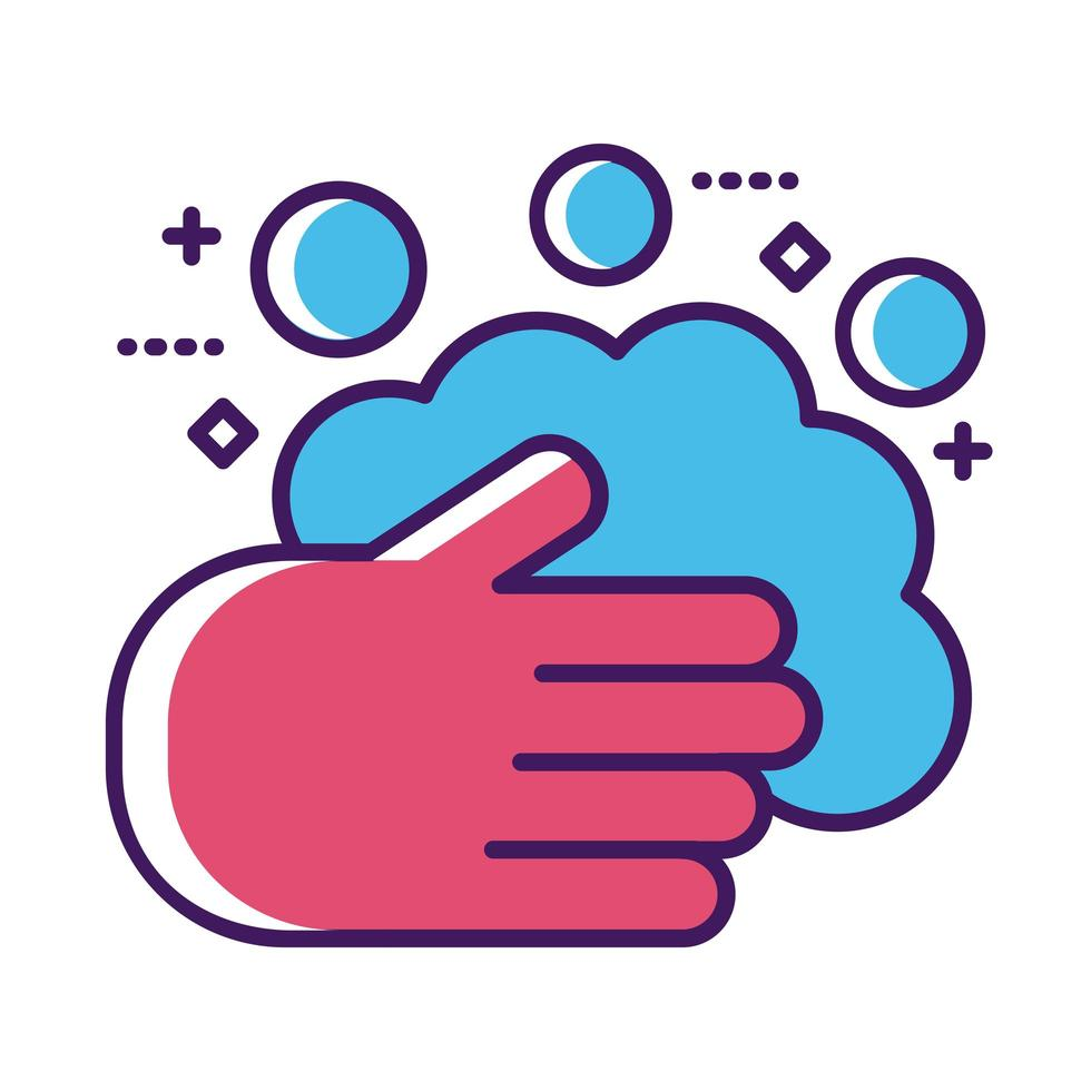 hands washing with foam line and fill style vector