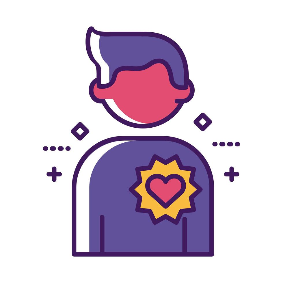 figura humana con línea de corazón y estilo de relleno vector