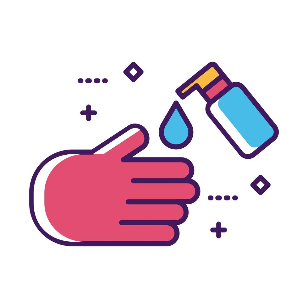 hand washing using soap bottle line and fill style vector