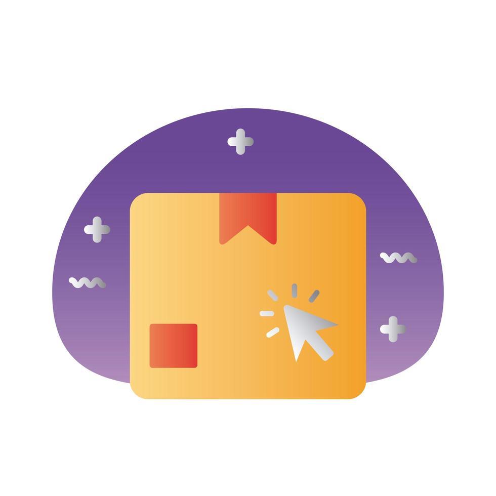 caja de cartón con estilo degradado de flecha del mouse vector
