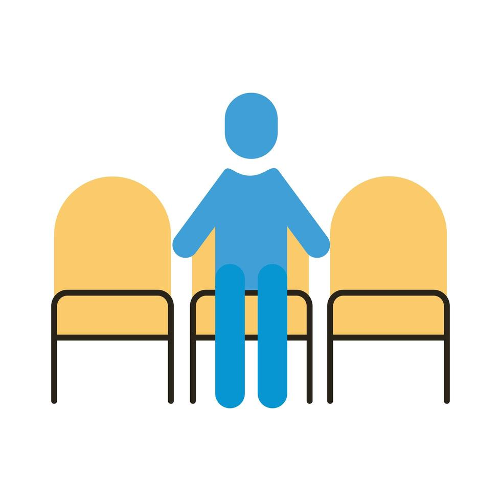 human figure in chairs with social distance flat style vector