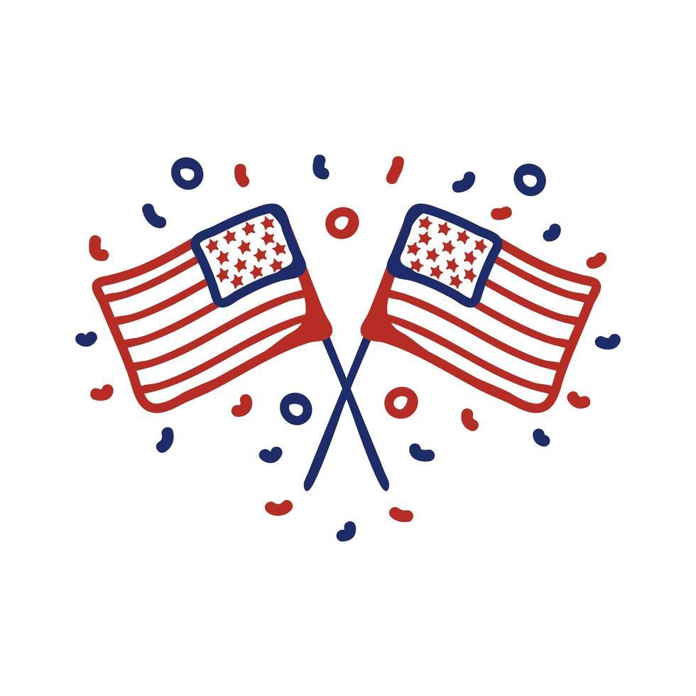 icono de estilo de línea de banderas de Estados Unidos vector