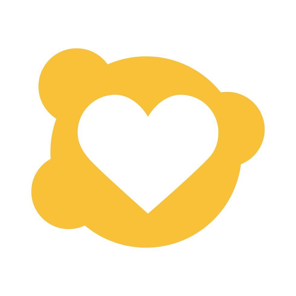 icono de estilo de bloque de amor de corazón vector