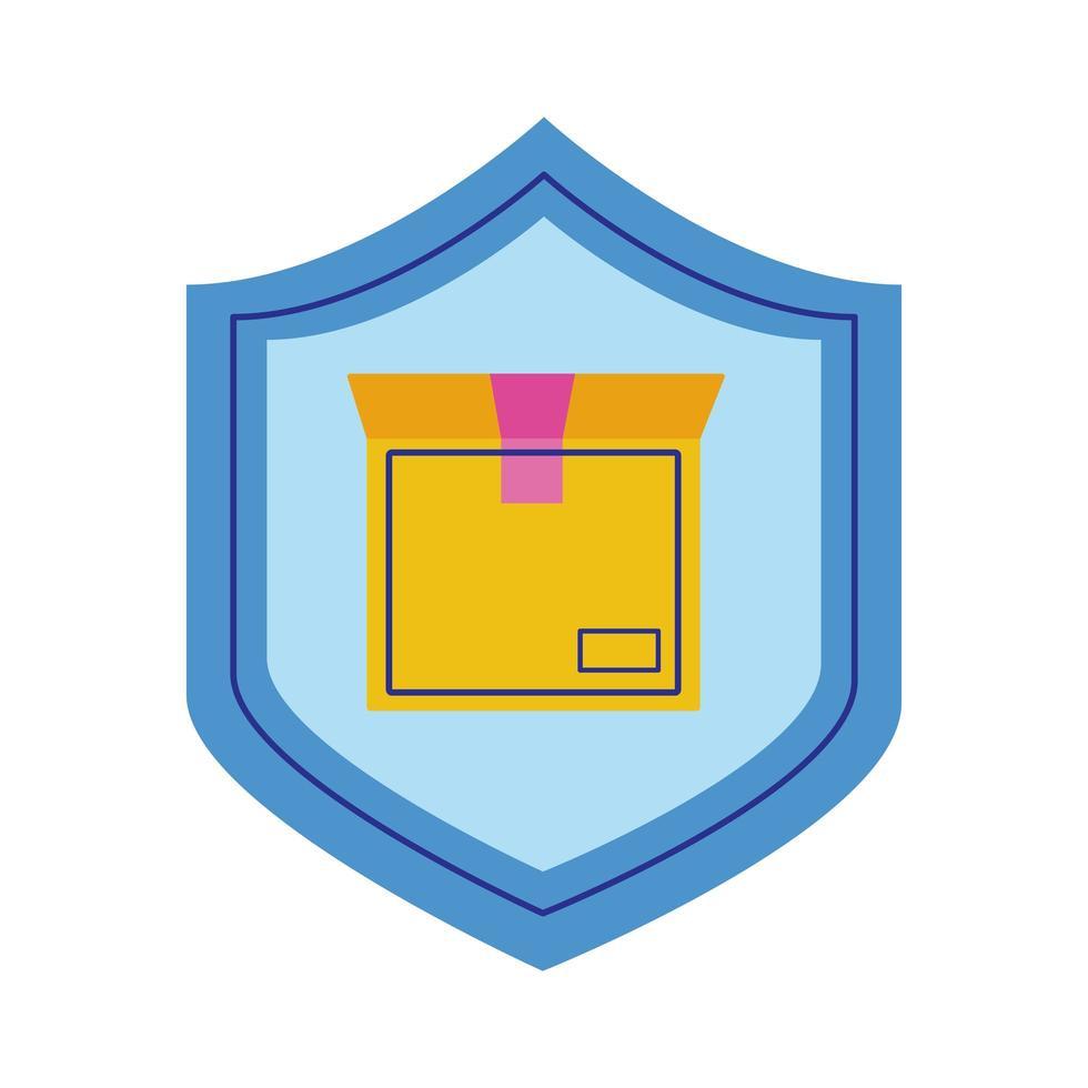 caja de cartón en estilo escudo plano vector