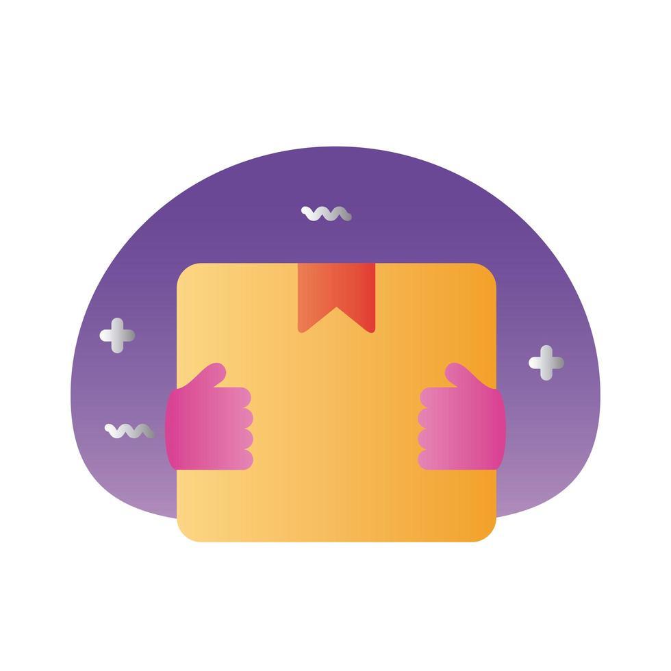 manos con estilo degradado de entrega de caja vector