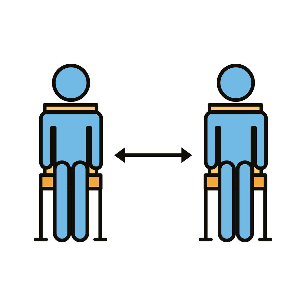 human figures in chairs with social distance line and fill style vector