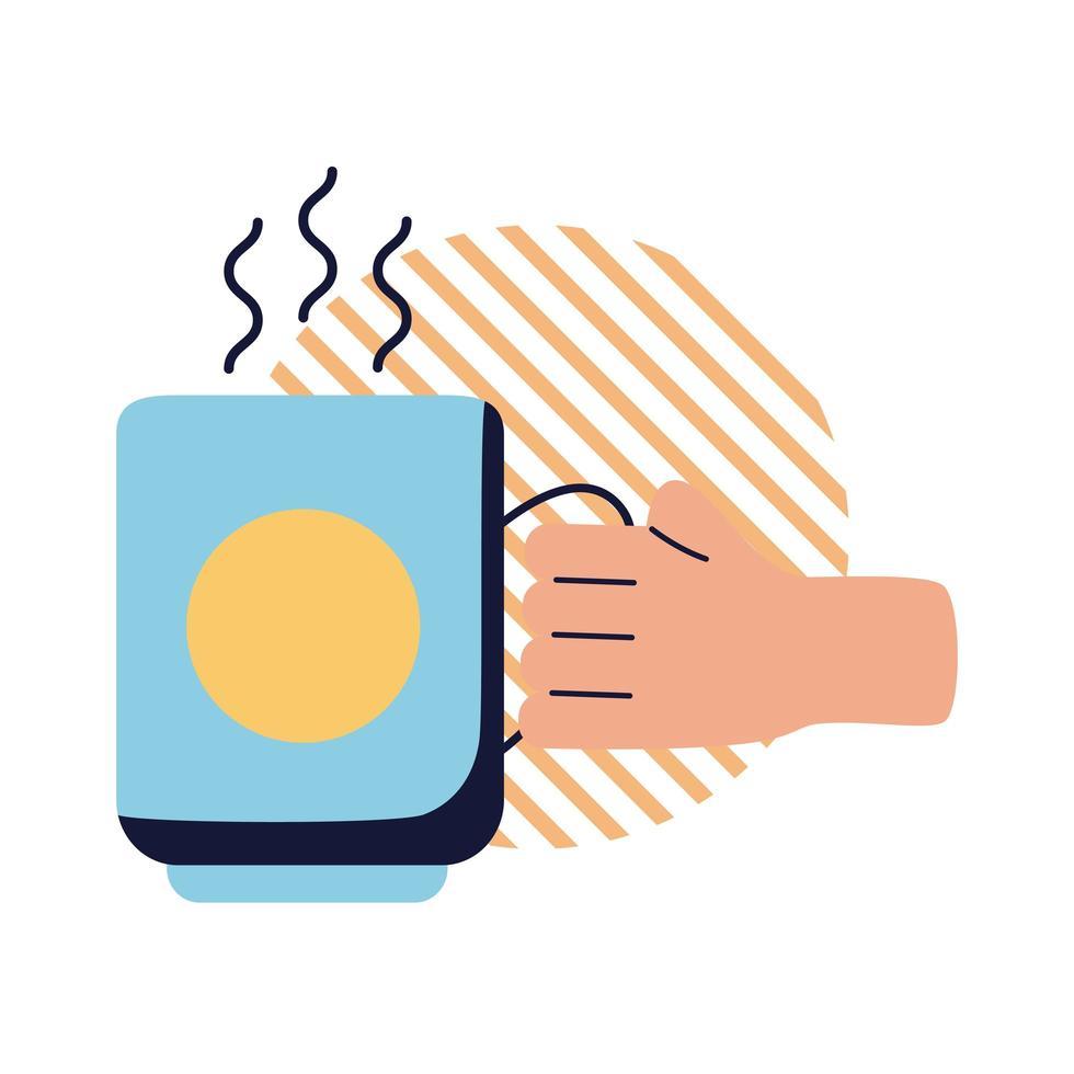 Mano con diseño de vector de icono de estilo plano de taza de café