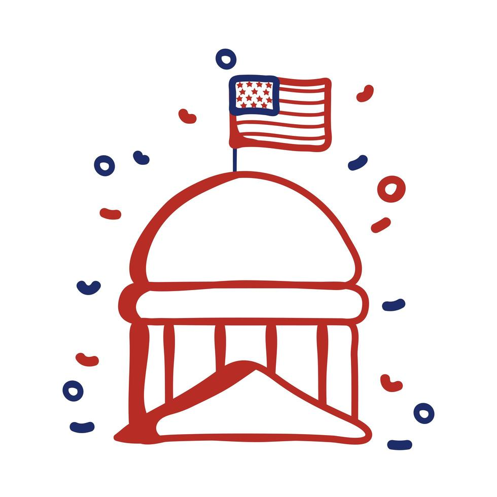 Capital del gobierno con diseño de ilustración de vector de estilo de línea de bandera de EE.UU.