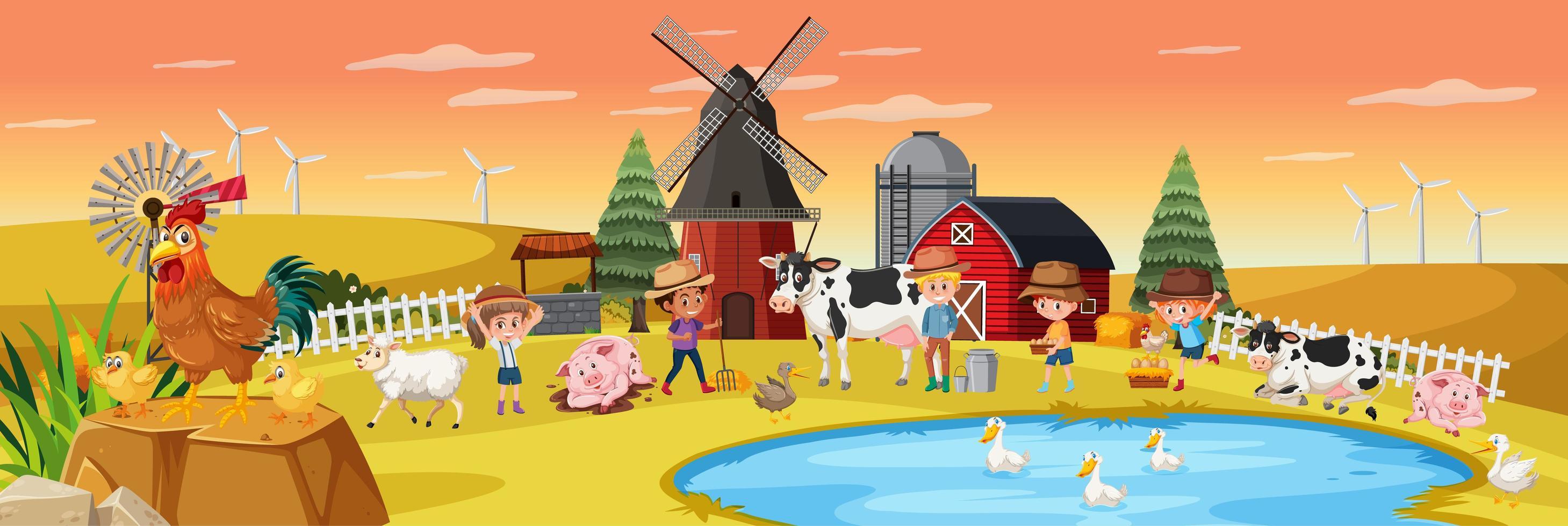 Happy children at the farm vector