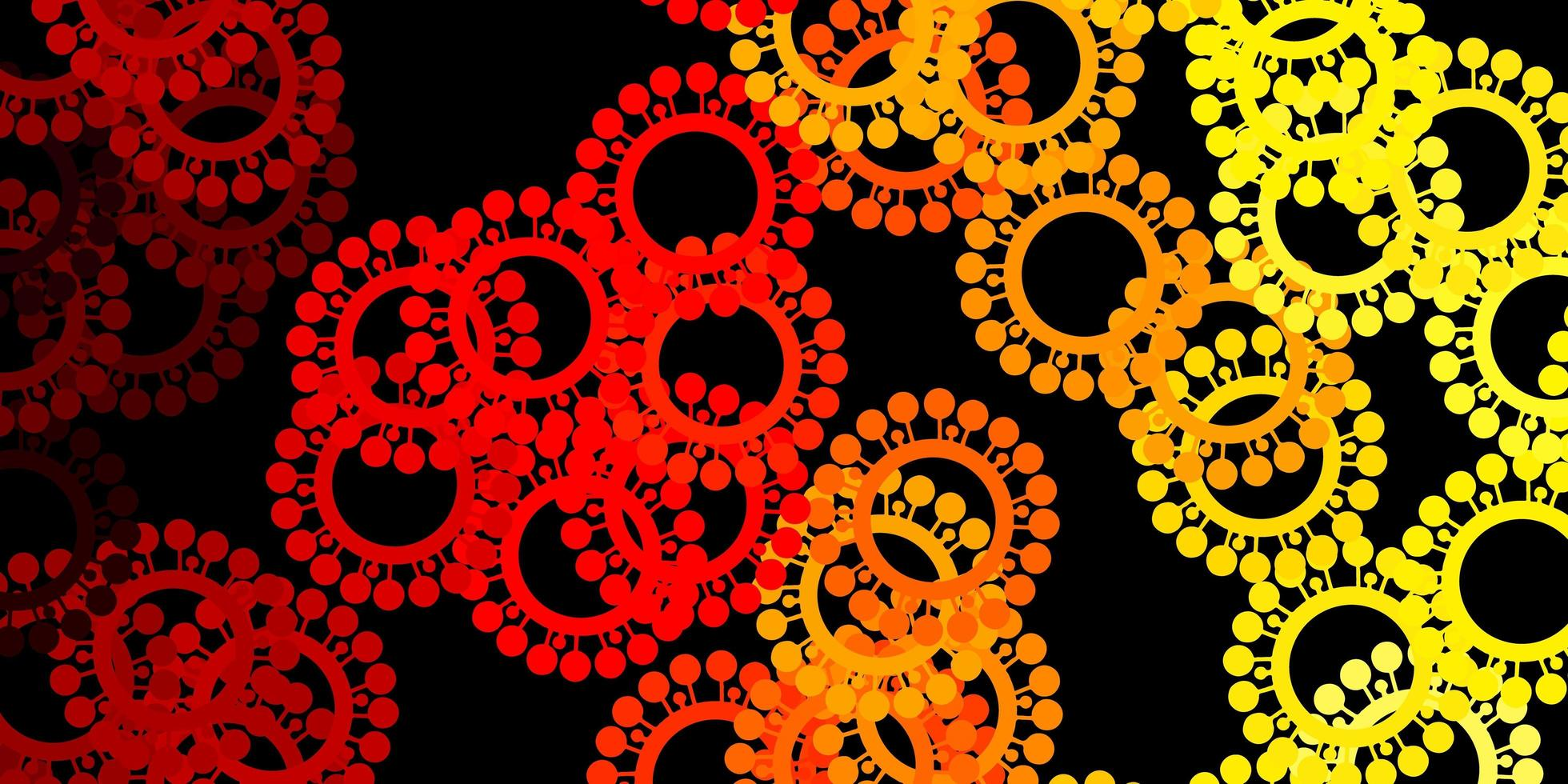 Dark red, yellow vector background with covid-19 symbols