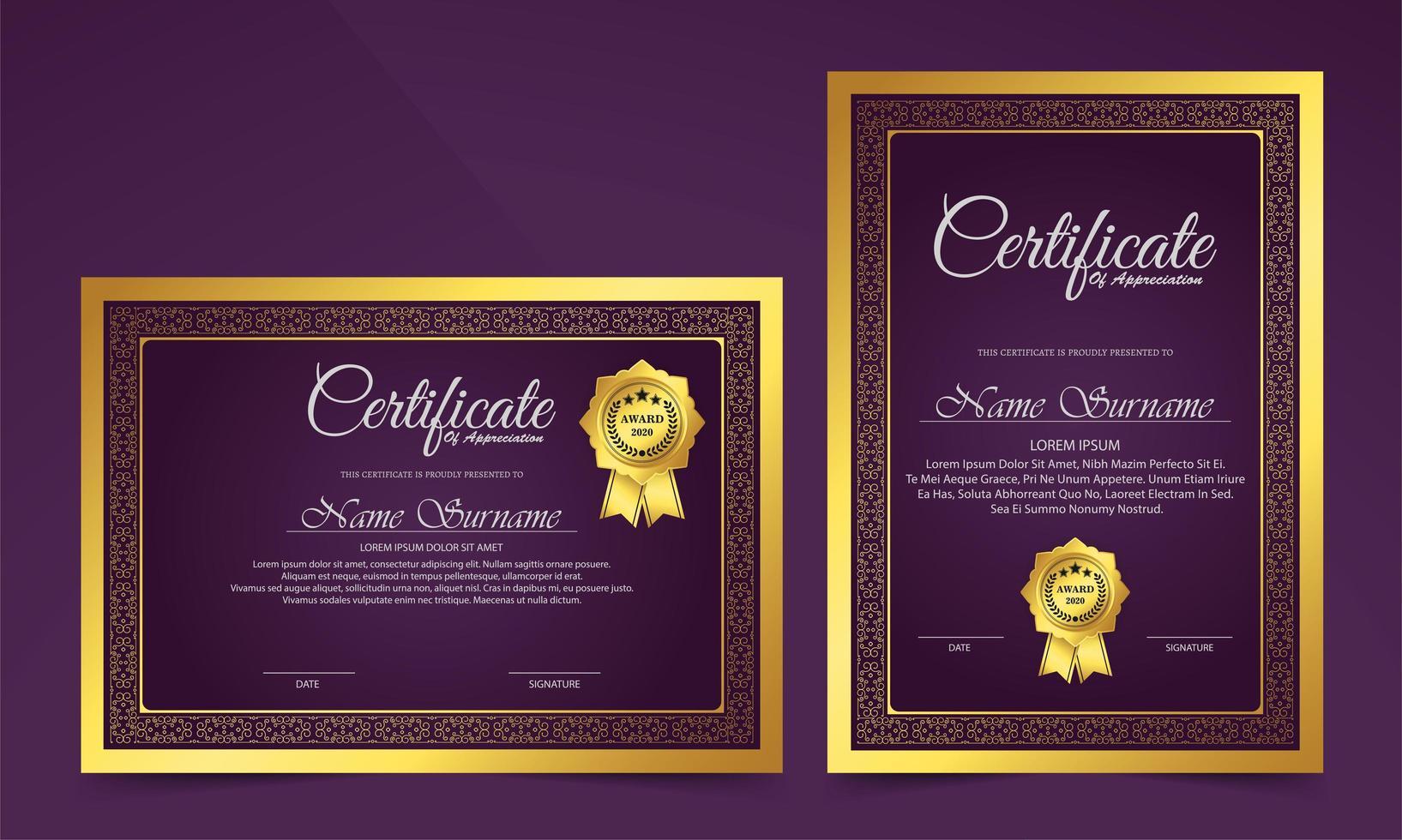 Luxury purple certificate classic design style set vector