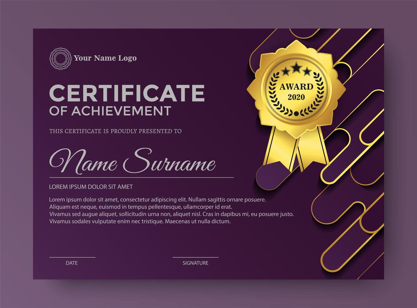 Elegant purple certificate award template vector